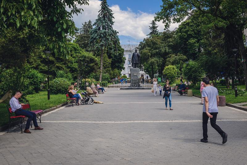Pushkin square in Ternopil royalty free stock photography