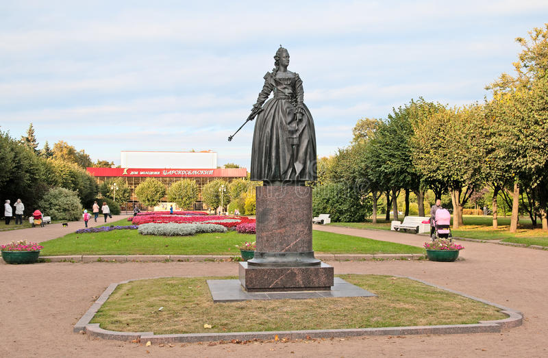pushkin St Petersburg Rusia Catherine The Great Statue foto de archivo