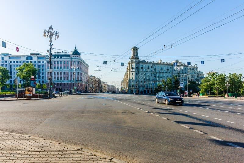 Pushking广场和莫斯科Tverskaya街道  库存照片