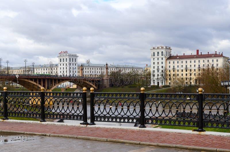 Pushkinsky和Kirovsky桥梁,维帖布斯克,白俄罗斯 库存照片