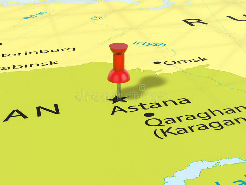 Pushpin on Astana map stock illustration Illustration of thumbtack
