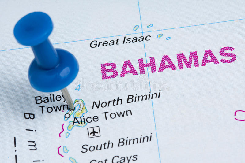Pushpin Bahamas Map Destination Vacation. Blue pushpin on Bahamas geographic map destination vacation stock photos