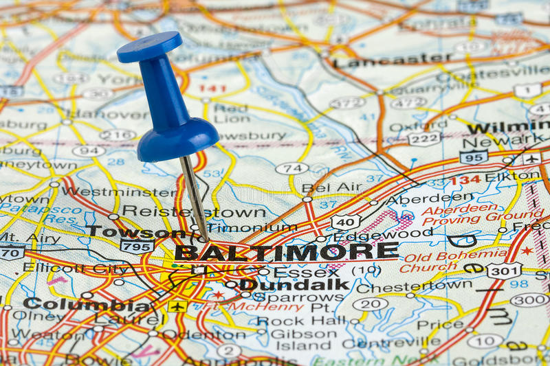Pushpin In Baltimore Maryland USA Map Stock Photo Image of roadmap