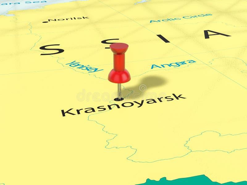 Pushpin on Krasnoyarsk map vector illustration