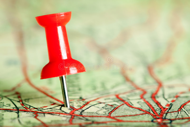 Download Pushpin on map stock photo. Image of road, place, journey - 8817094