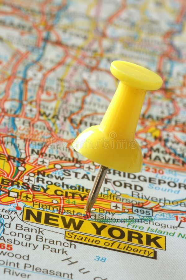 Download Pushpin In New York Map Stock Photo - Image: 6811870