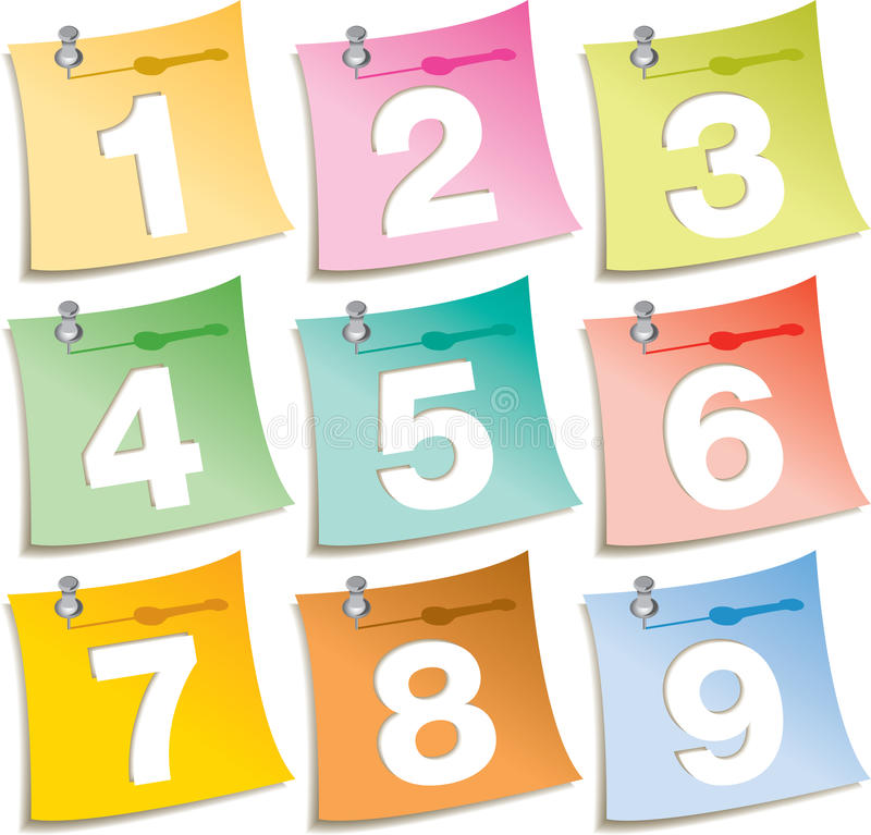 Download Pushpin Notes With Numbers Stock Images - Image: 27190384