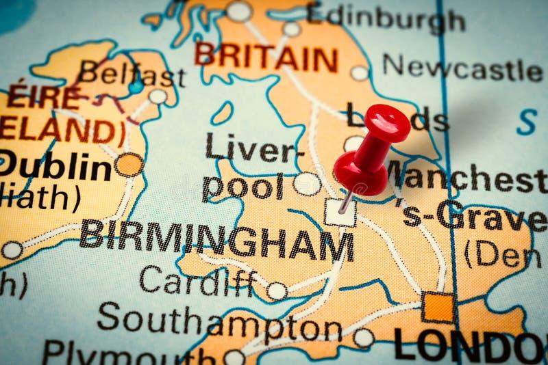 Pushpin pekar på Birmingham City i Förenade kungariket arkivbilder