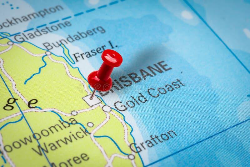 Pushpin pekar på Brisbane City i Australien royaltyfria bilder