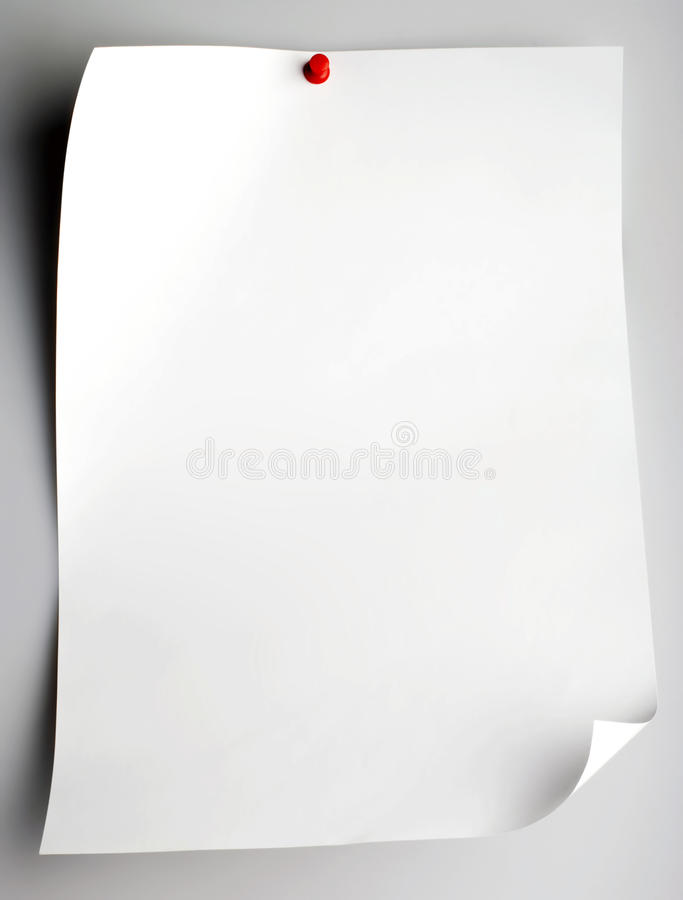 Pushpin Pinned Single Blank Note Paper Stock Image