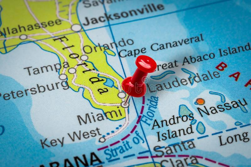 Pushpin pointing at Miami city in USA royalty free stock photography