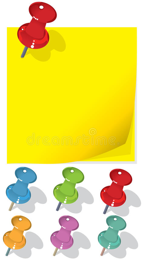 Download Pushpin and sticker stock vector. Image of closeup, attachment - 11131185