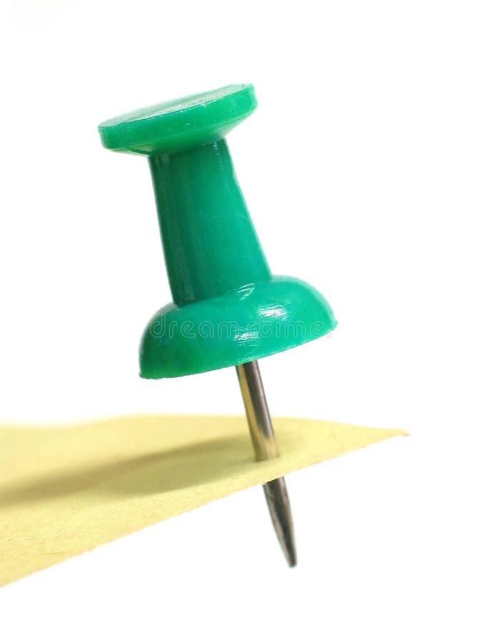 Pushpin verde fotografia de stock