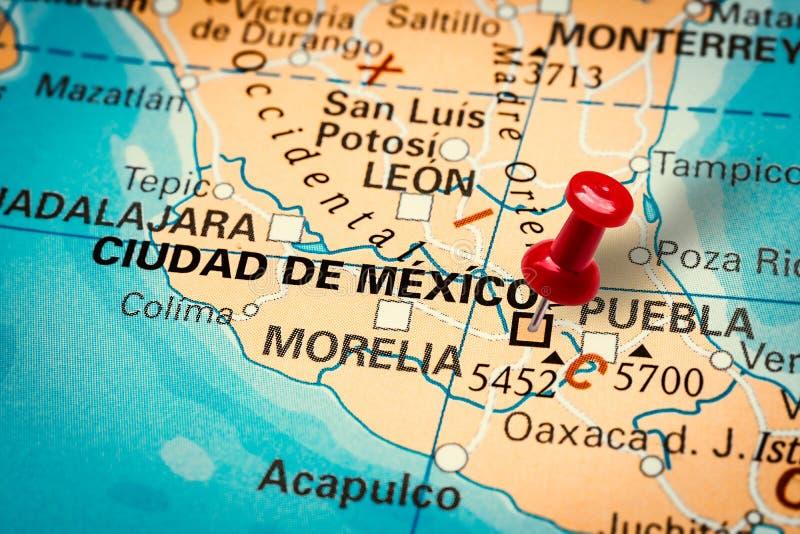 Pushpin wijst naar Ciudad de Mexico-stad royalty-vrije stock foto