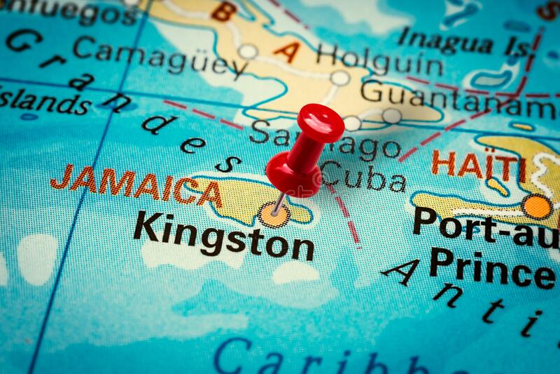 Pushpin zeigt Kingston City in Jamaika stockfotos