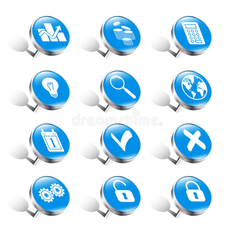 Download Pushpins business icons stock vector. Image of close - 30586679