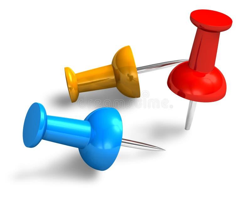 Pushpins da cor ilustração do vetor