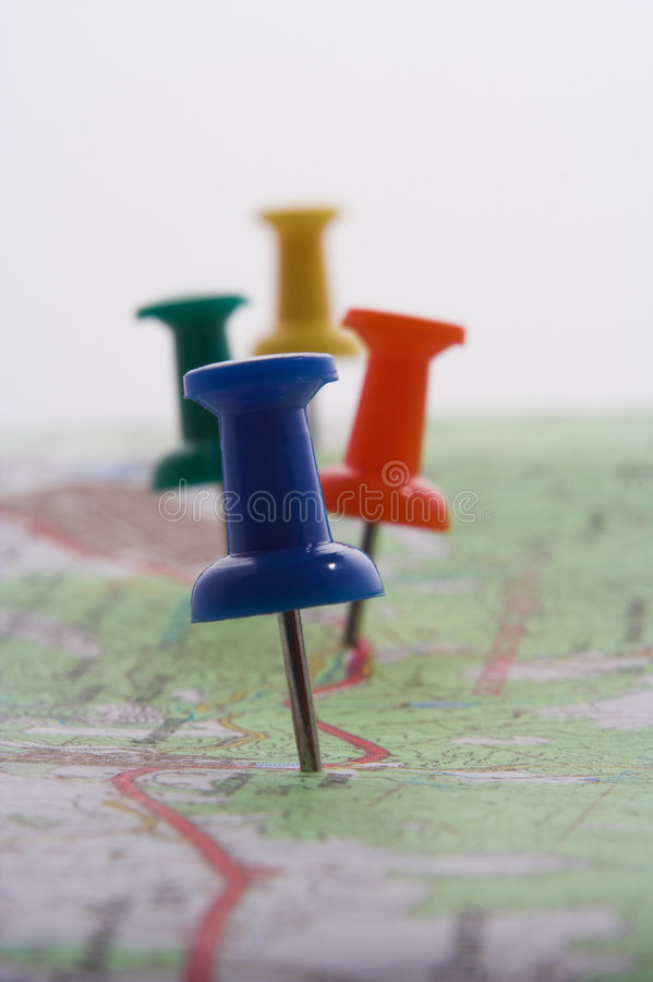 Free Pushpins In A Map Royalty Free Stock Photos - 1202668