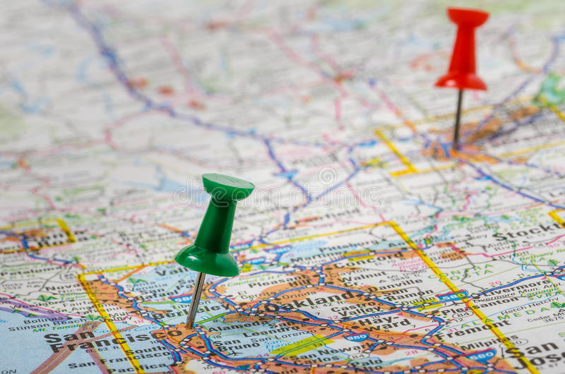 Pushpins on a Road Map stock photo