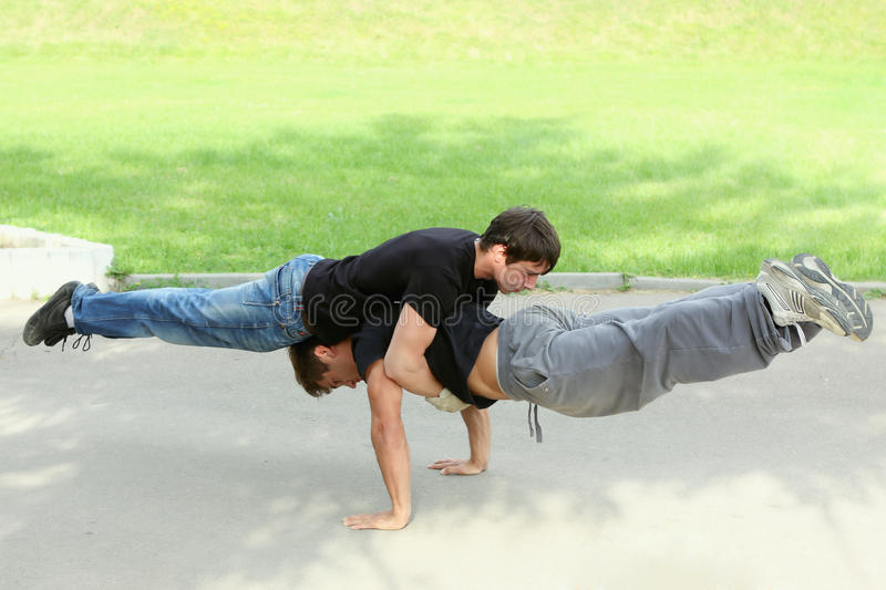 Pushups together royalty free stock photo