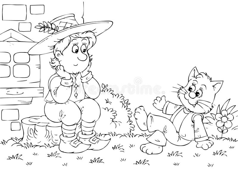 Puss in Boots talks to his owner royalty free illustration