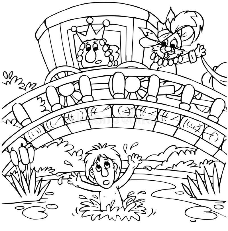 Puss in Laarzen die brug kruisen vector illustratie