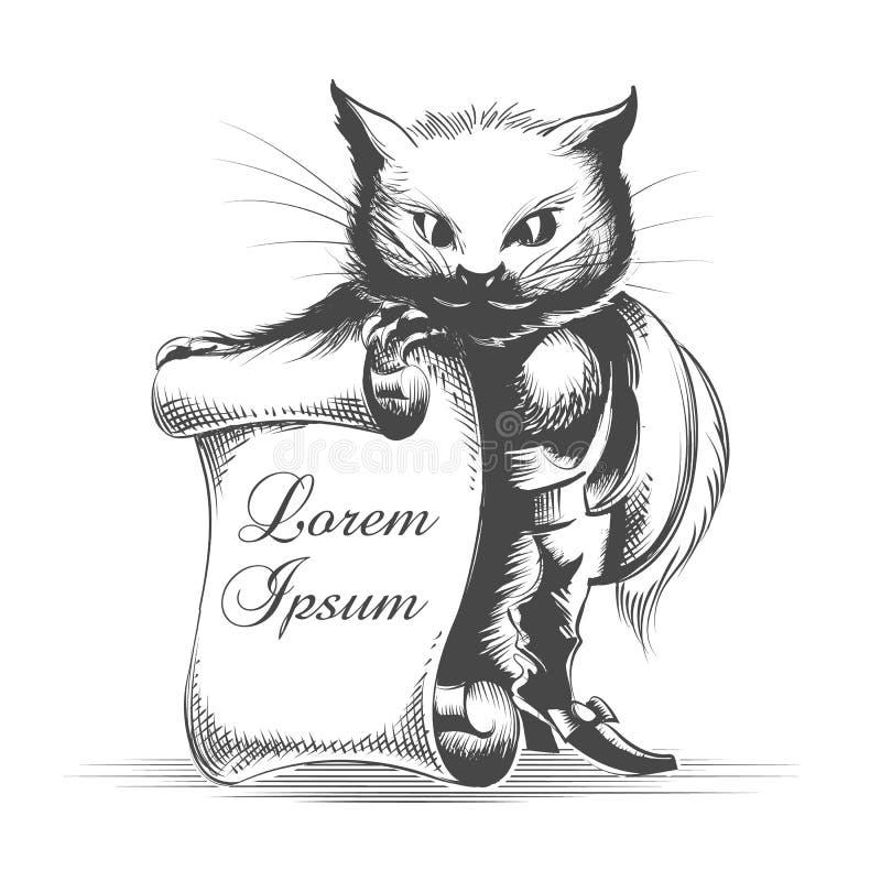 Puss nas botas com rolo vazio ilustração royalty free