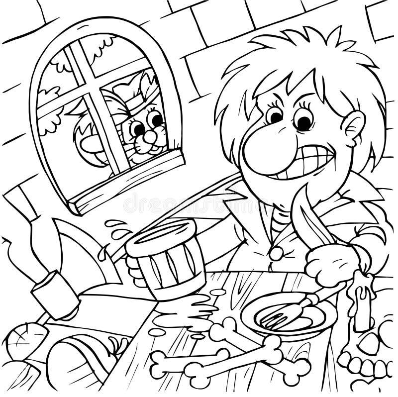 Puss nos carregadores e ogre ilustração stock