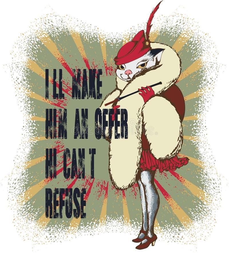 Puss - zła dziewczyna w retro stylu ilustracji