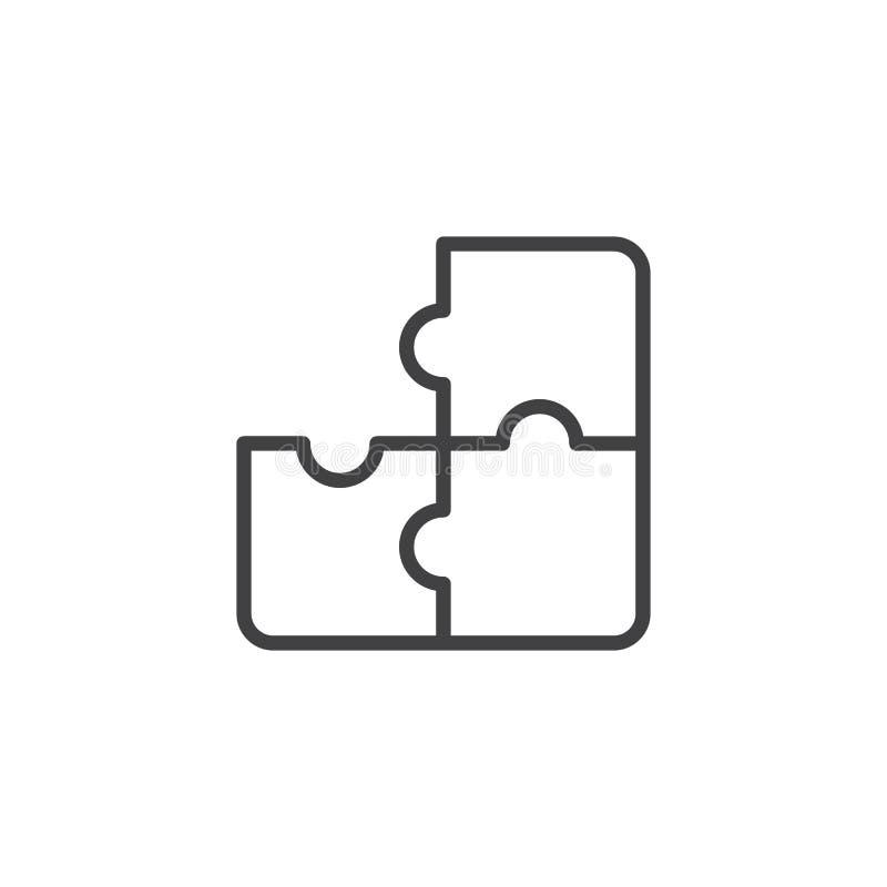 Pussel översiktssymbol för tre stycke royaltyfri illustrationer