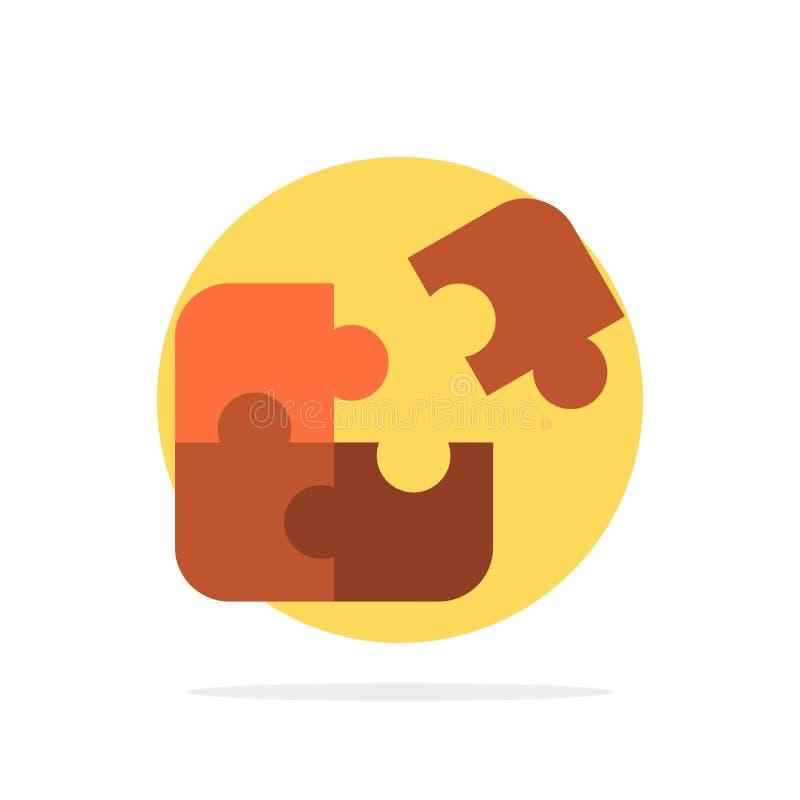 Pussel affär, figursåg, match, stycke, för abstrakt symbol för färg cirkelbakgrund för framgång plan royaltyfri illustrationer
