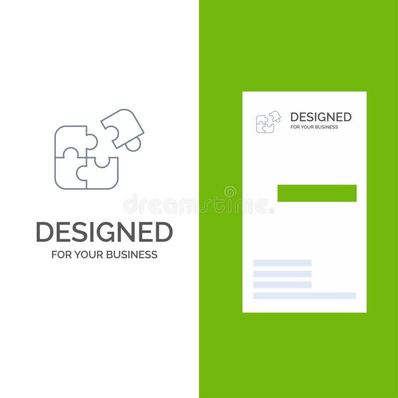 Pussel, affär, figursåg, match, stycke, framgång Grey Logo Design och mall för affärskort vektor illustrationer