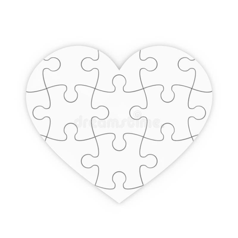 Pussel av en hjärta. isolerad jigsaw royaltyfri illustrationer