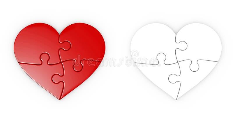 Pussel av hjärta. jigsaw med den snabba banan stock illustrationer