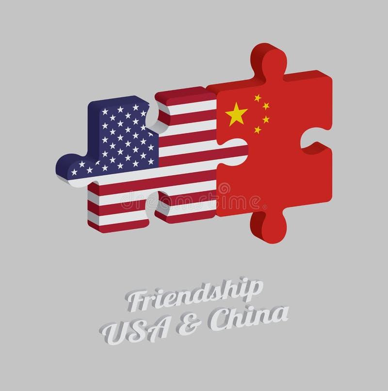 Pussel 3D av den Amerika flaggan och den Kina flaggan med text: Kamratskap USA & Kina Begrepp av vänskapsmatchen mellan båda länd stock illustrationer