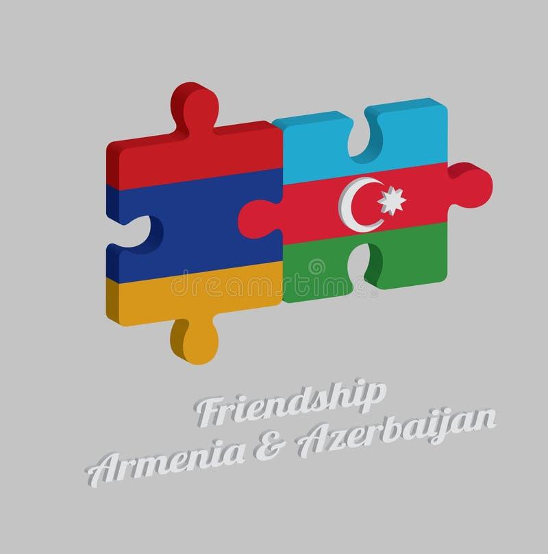 Pussel 3D av den Armenien flaggan och den Azerbajdzjan flaggan med text: Kamratskap Armenien & Azerbajdzjan vektor illustrationer