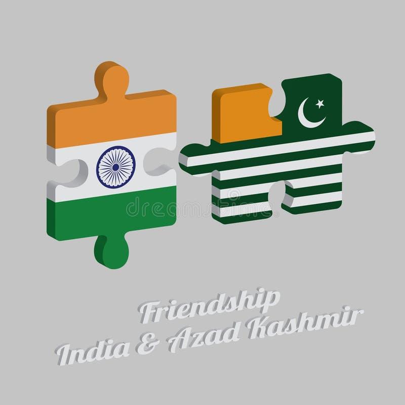 Pussel 3D av den Azad Kashmir flaggan och den Indien flaggan med text: Kamratskap Azad Kashmir & Indien Begrepp av v?nskapsmatche royaltyfri illustrationer