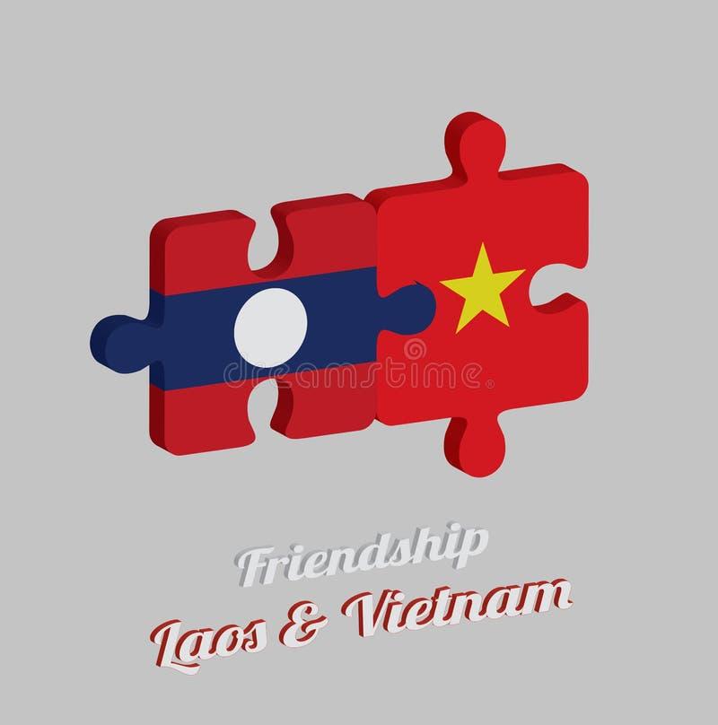 Pussel 3D av den Laos flaggan och den Vietnam flaggan med text: Kamratskap Laos & Vietnam Begrepp av vänskapsmatchen mellan båda  stock illustrationer
