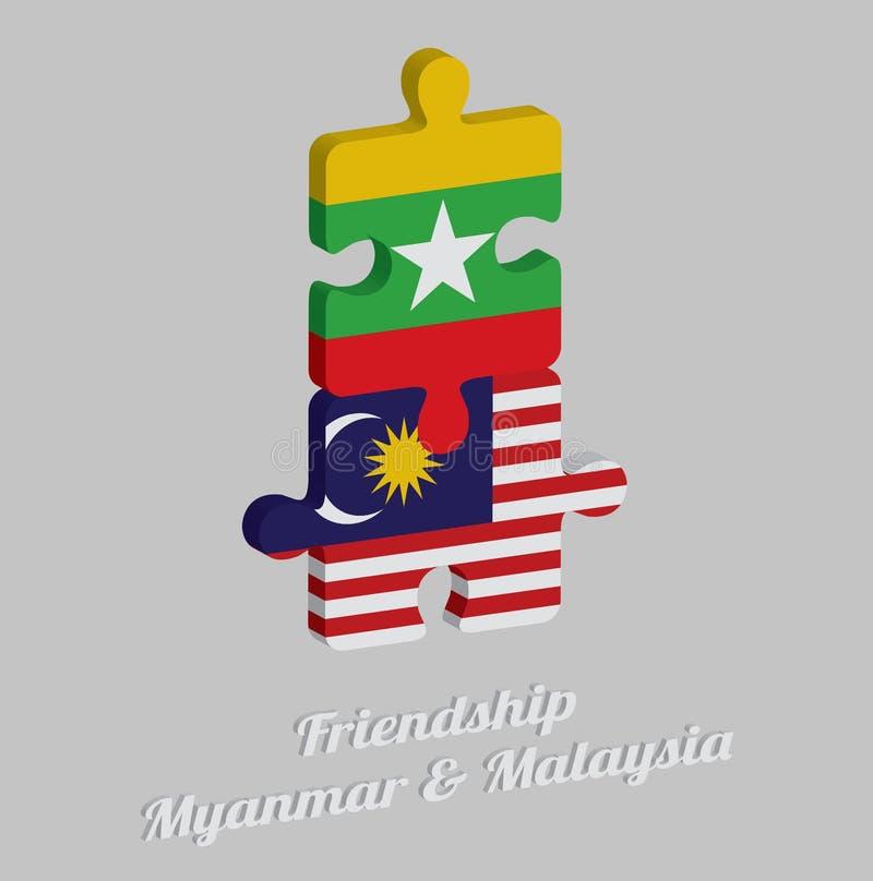 Pussel 3D av den Myanmar flaggan och den Malaysia flaggan med text: Kamratskap Myanmar & Malaysia Begrepp av vänskapsmatchen mell stock illustrationer