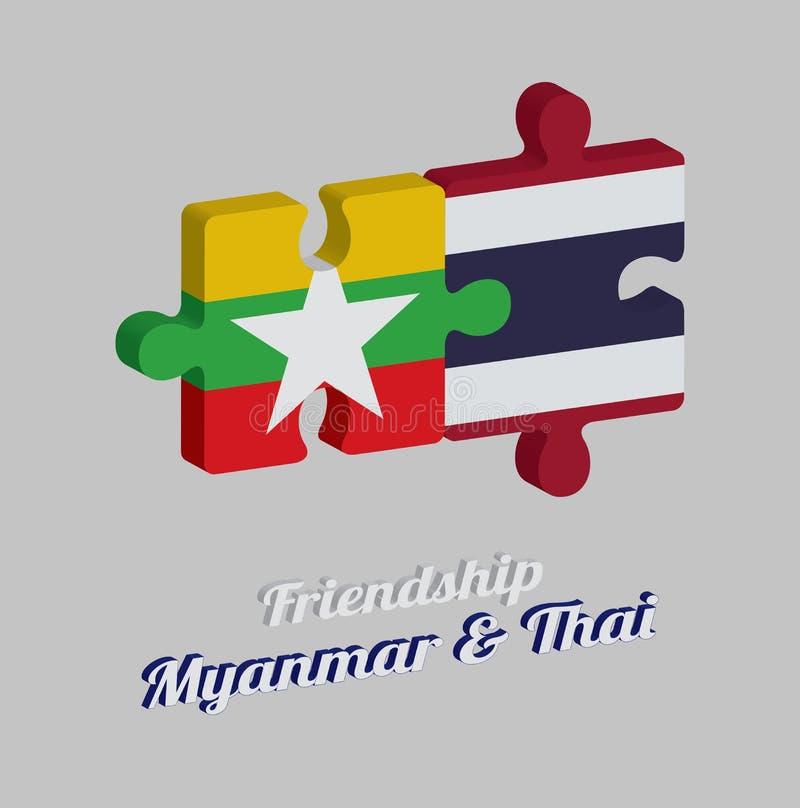 Pussel 3D av den Myanmar flaggan och den Thailand flaggan med text: Kamratskap Myanmar & thailändskt Begrepp av v?nskapsmatchen royaltyfri illustrationer