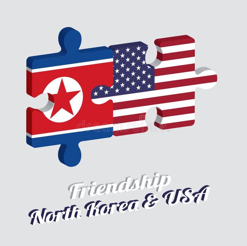 Pussel 3D av den Nordkorea flaggan och den Amerika flaggan med text: Kamratskap Nordkorea & USA Begrepp av v?nskapsmatchen royaltyfri illustrationer