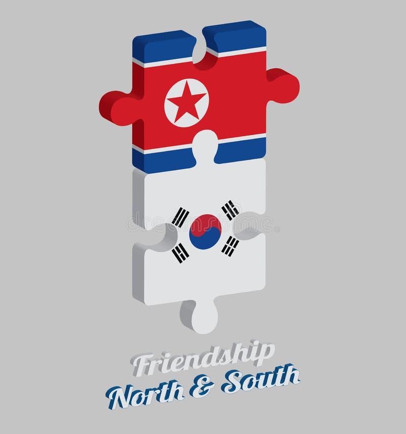 Pussel 3D av den Nordkorea flaggan och den Sydkorea flaggan med text: Norr kamratskap & söder Begrepp av v?nskapsmatchen royaltyfri illustrationer