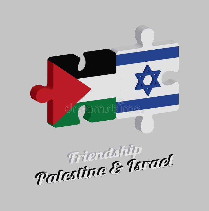 Pussel 3D av den Palestina flaggan och den Israel flaggan med text: Kamratskap Palestina & Israel Begrepp av v?nskapsmatchen vektor illustrationer