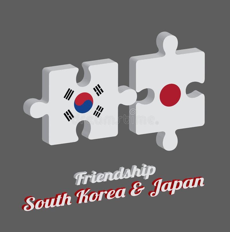 Pussel 3D av den Sydkorea flaggan och den Japan flaggan med text: Kamratskap Sydkorea & Japan Begrepp av v?nskapsmatchen vektor illustrationer