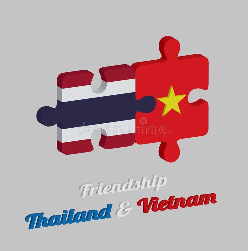 Pussel 3D av den thailändska flaggan och den Vietnam flaggan med text: Kamratskap Thailand & Vietnam Begrepp av vänskapsmatchen m royaltyfri illustrationer