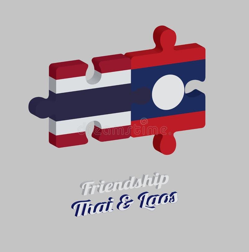 Pussel 3D av den Thailand flaggan och den Laos flaggan med text: Thailändskt kamratskap & Laos Begrepp av v?nskapsmatchen royaltyfri illustrationer