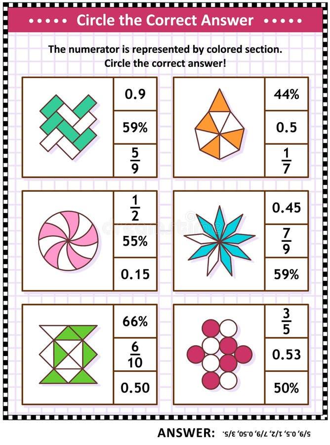 Pussel eller arbetssedel för matematikexpertisutbildning med visuella bråkdelar stock illustrationer