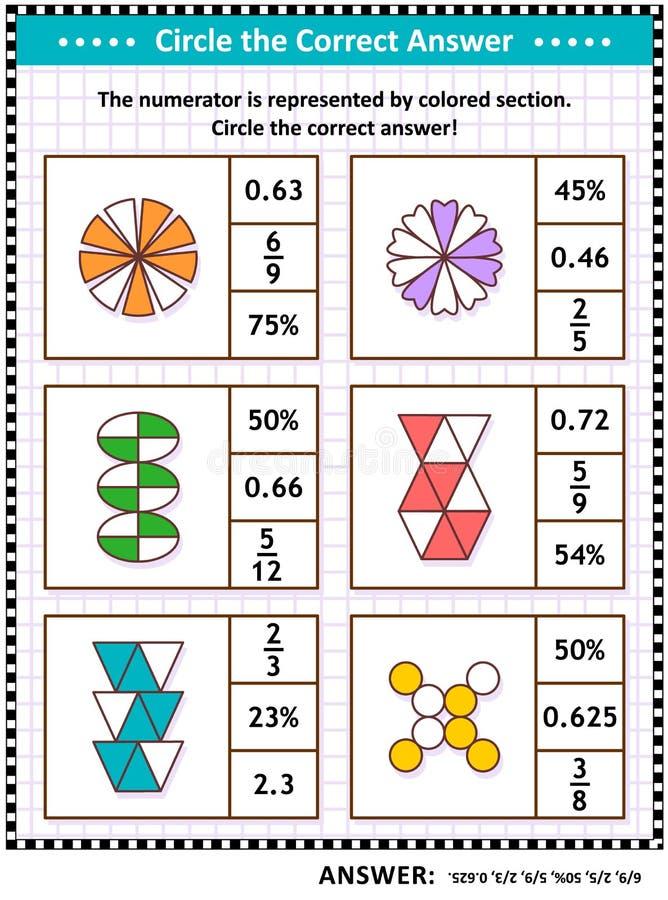 Pussel eller arbetssedel för matematikexpertisutbildning med visuella bråkdelar royaltyfri illustrationer