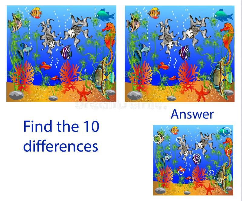 Pussel för illustration för barn` s visuellt: fynd tio skillnader från royaltyfri illustrationer