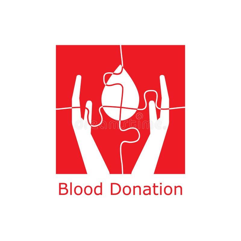 Pussel för logo för bloddonation royaltyfri illustrationer
